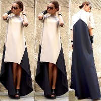 Fashion Women Short Sleeve Long Maxi Dress Irregular Splice Evening Party Dress
