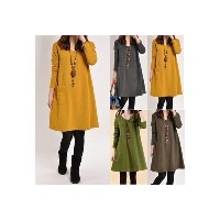Women Winter Long Sleeve Pocket Tunic Tops Loose Casual Cotton Pregnancy Dress