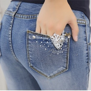 108# Denim Maternity Jeans with Lace Belly Pants Clothes for Pregnant Women Waist Adjustable Pencil