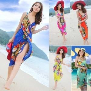 Summer Women Sexy Beach Dress Deep V Wrap Chiffon Swimwear Bikini Set Cover Up Sarong Bohemian Casua