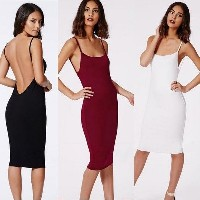 Women Summer Backless Mini Dress Backless Cocktail Evening Party Beach Dress Slipdress Suspender Cam