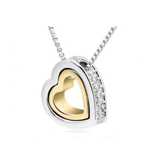 18k Gold Plated Austrian Crystal Rhinestones Float Floating Double Heart Pendant Necklace