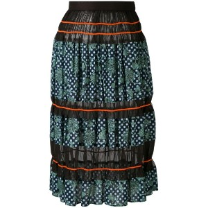 Kolor - printed sheer panel skirt - women - コットン/ポリエステル/Tencel - 3