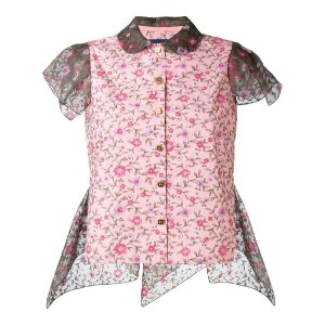 Kolor - cap sleeve floral shirt - women - ポリエステル/コットン - 2