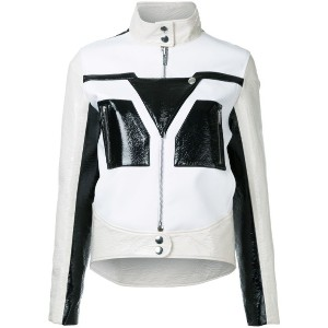 Courrèges - graphic contrast faux leather jacket - women - ポリエステル/ポリウレタン - 36