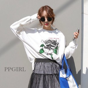 送料 0円★PPGIRL_9561 Rose sweat shirt / casual T shirt / long top / print T shirt / box T