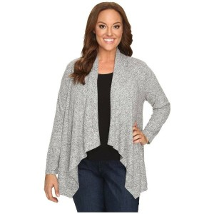 ボボウ B Collection by Bobeau Curvy レディース アウター カーディガン【Plus Size Amie Waterfall Cardigan】Heather Grey