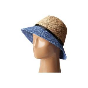 スカラ SCALA レディース 帽子 ハット【Crochet Raffia Six-Way Fedora】Denium