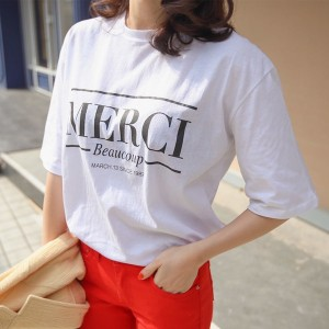 送料 0円★PPGIRL_9606 Merci T shirt / print T shirt / loose fit box T shirt / casual / round neck