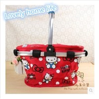 hello Kitty Kitty outdoor picnic basket canvas cold insulation capacity portable basket_Lovely home...