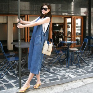 [zoozoom] V-neck tab denim Jumpsuit 1color / 23440