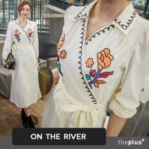 ★ ontheriver ★ flower embroidery dress / Korean fashion / white one-piece / spring /