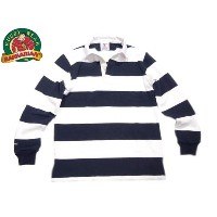 """BARBARIAN(バーバリアン)/""""YALE"""" L/S RUGBY JERSEY/navy x white"""