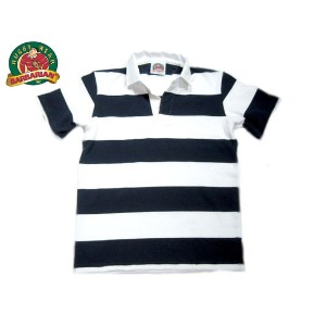 BARBARIAN(バーバリアン)/PLAIN 3INCH BORDER S/S RUGBY JERSEY/navy x white