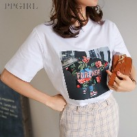 送料 0円★PPGIRL_9720 Forever T shirt / casual box T shirt / print T shirt / half sleeve top