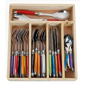 FlyingColors Laguiole Stainless Steel Flatware Set. Multicolor Handle, Wooden Storage Box, 34...