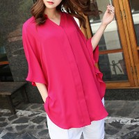 [zoozoom] Silky henry neck cape blouse 2color / 19672