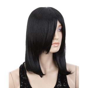Cool2day Attack on Titan Straight Black Hair Full Wig+Free Wig Cap(Model:JF011460) (Color: Black)