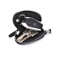 Genuine Leather Car Key Chains Wallet Pouch Remote Key Case Holder For Men and Women Black