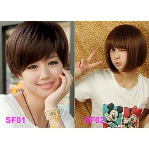 Short BOBO Hairpiece Claw Clip On Hair Extensions Wig Light Brown FREE holder conditioner wig cap...