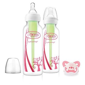 Dr. Brown's 8 oz SN Pink Deco Bottles & Pacifier Gift Set by Dr. Brown's