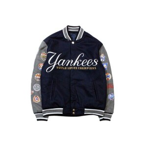 JH Design EMBROIDERED LOGOS REVERSIBLE WOOL JACKET (NEW YORK YANKEES: NAVY-GREY)ジェイエイチデザイン...