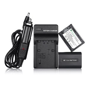 Powerextra 2 PCS リプレイスメント ソニー NP-FH70 バッテリー with Charger For ソニー DCR-DVD650, DCR-HC22, DCR-HC48,...