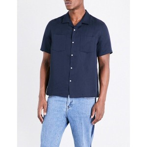 PLAC plac メンズ トップス 半袖シャツ【patch-pocket linen-blend shirt】Navy
