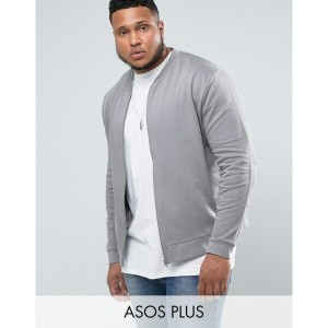 エイソス メンズ ジャケット&ブルゾン アウター ASOS PLUS Jersey Bomber Jacket In Grey With Embroidery Spoon