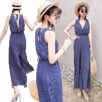 送料 0円★9832 Siena jumpsuit / chiffon long dress / sleeveless / long slacks / maxi dress
