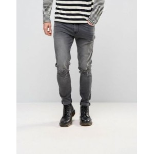 ASOS エイソス Skinny スキニー Jeans パンツ With Knee Abrasions In Dark Grey
