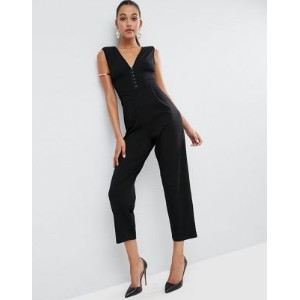 ASOS エイソス Jersey Jumpsuit with Hardware and Waist Detail