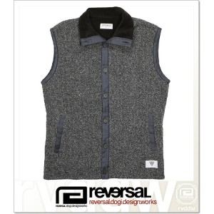 REVERSAL OCEANS CABLE KNIT & FLEECE VEST (JACKET)(rvsf16aw003-C.BK)