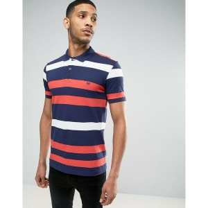 ベネトン メンズ ポロシャツ トップス United Colors of Benetton Polo Shirt In Multi Stripe Navy909