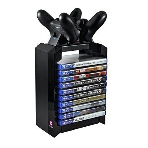 Numskull - Tower & Dual Charger for Dualshock 4 Controller / Gamepad / Joystick - Stores 10 Games -...