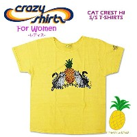 Crazy Shirts(クレイジーシャツ)-Womens- S/S Scoope Neck Tee @PINEAPPLE DYED[2008808] CAT CREST HI レディースクリバンキャ...