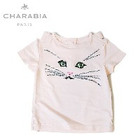 ≪Charabia≫ シャラビア猫の顔 ネコ柄 ピンク Tシャツ カットソー (Pink)【楽ギフ_包装】