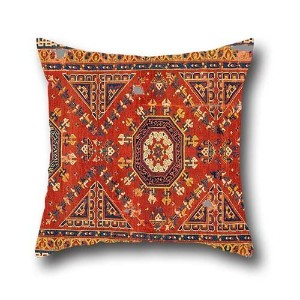 Oil Painting Unknown, Turkey - Three Star 'Holbein' Carpet Throw Pillow Case 16 X 16 Inches / 40 By...