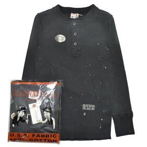 GLADHAND-19 USED THICK HENRY L/S T-SHIRTS/BLACK/パックT/ヴィンテージ加工/ティック/ヘンリーネック/長袖/Tシャツ【GANGSTERVILLE...