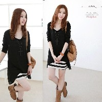 Fashion Korean Women Dress Cotton Lace Skirt O-neck Long-sleeved Lady Skirt Casual Two-piece Striped