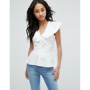 エイソス レディース シャツ トップス ASOS Cotton Blouse with Ruffle Front & Tie Waist White