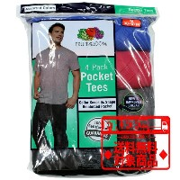 Fruit Of The Loom ポケットTシャツ4枚組み Pocket TEE 4 Pack 4P30BG Black Grey 黒 グレー ds-Y■CRNG