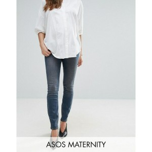 エイソス レディース デニムパンツ ボトムス ASOS MATERNITY LISBON Skinny Mid Rise Jean in Dita Tinted Mid Wash with...