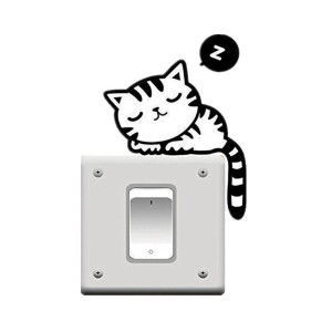Hommy 黒猫ウォールステッカー コンセント スイッチ用 1枚入り