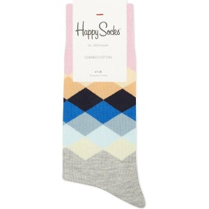 ハッピーソックス happy socks メンズ インナー ソックス【diamond pattern cotton socks】Grey pastel multi