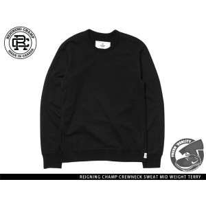 """Handcrafted in Canada"" REIGNING CHAMP CREWNECK SWEAT MID WEIGHT TERRY BLACK レイニング チャンプ クルーネック ブラック"