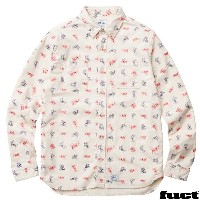 FUCT SSDD / MAN PRINT FLANNEL SHIRT OFF WHITE ファクト ネルシャツ ファクマン