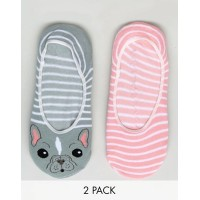 Sock Shop 2 Pack French Bulldog ブルドック Footsies