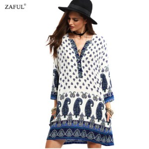 New Spring Women Vintage Dress V-neck Print Long Sleeve dress Loose Casual dress Mini Ethnic Dress
