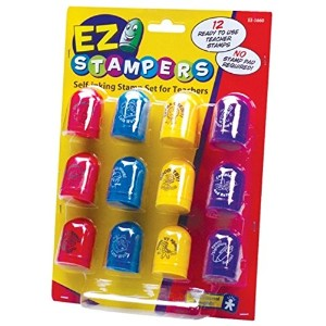 Educational Insights EZ Stampers 【英語教材 先生スタンプ ご褒美】インク付きスタンプ メッセージ 12個セット 正規品